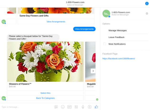 1-800-Flowers.com 's bot lets you browse and order arrangements without ever leaving your Messenger chat window