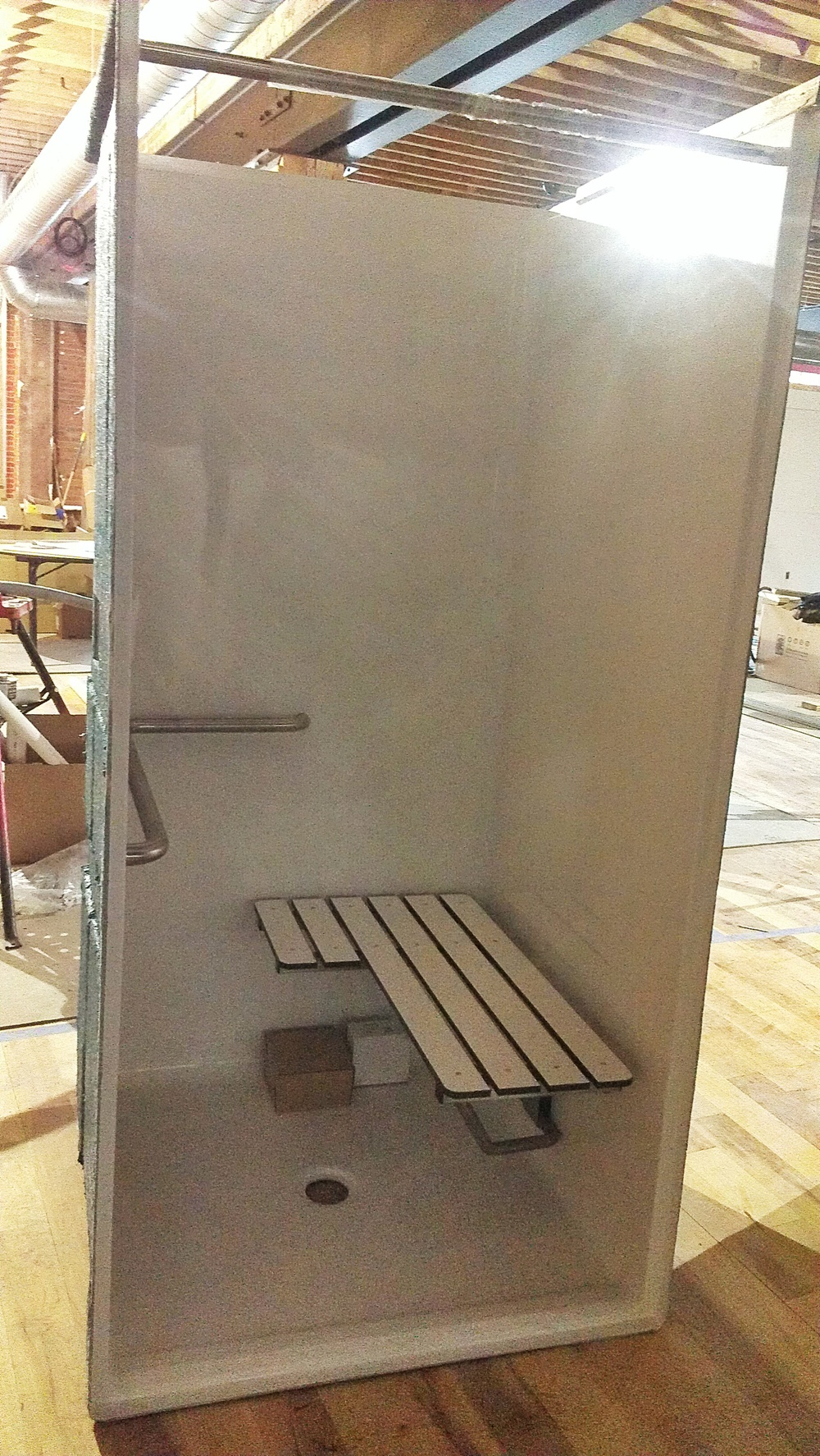 This is our ADA approved employee shower, perfect for use between a sweaty bike ride and handling food!