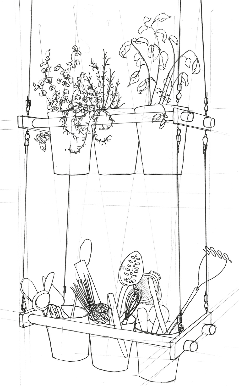 Zoe Hewett Interiors Kitchen Herbs Sketch