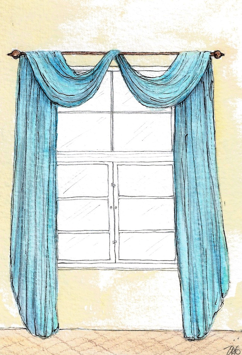 Zoe Hewett Interiors C19th window treatment sketch