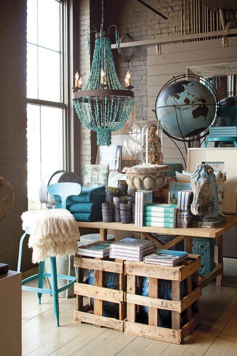 Natural light is used to bring out the contrast of natural tones and bold colours in this display at the Revival store in Chattanooga, USA.