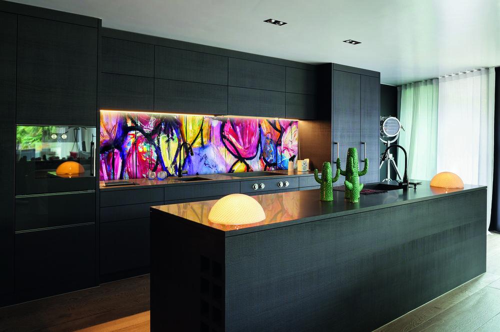 Red Dog Glass Design Grey Kitchen