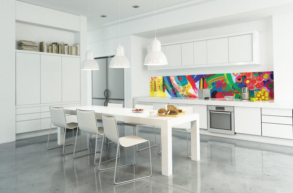 Red Dog Glass Design White Kitchen
