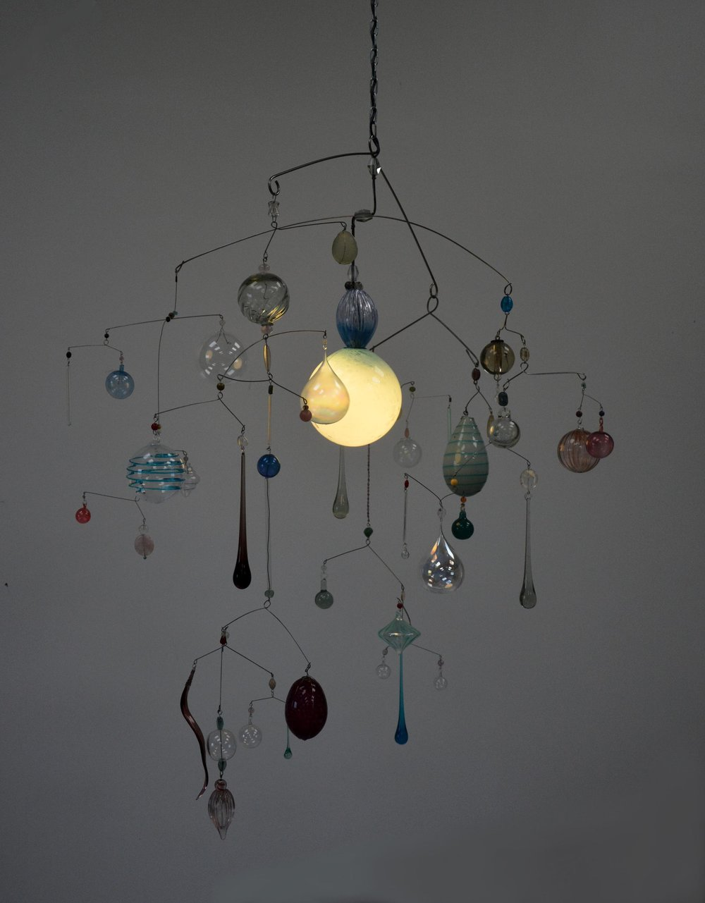 "Hanging mobile with illuminated blue glass orb 30"" x 36"" 2"