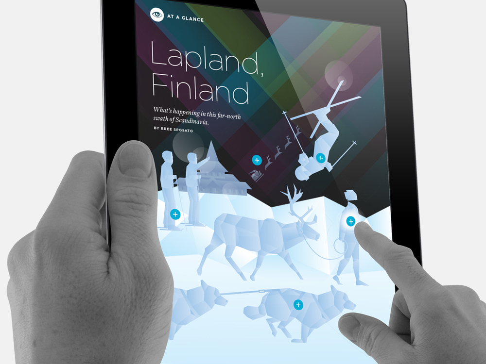 Interactive, animated feature on Lapland. Built in Adobe Illustrator and animated in Adobe Edge.