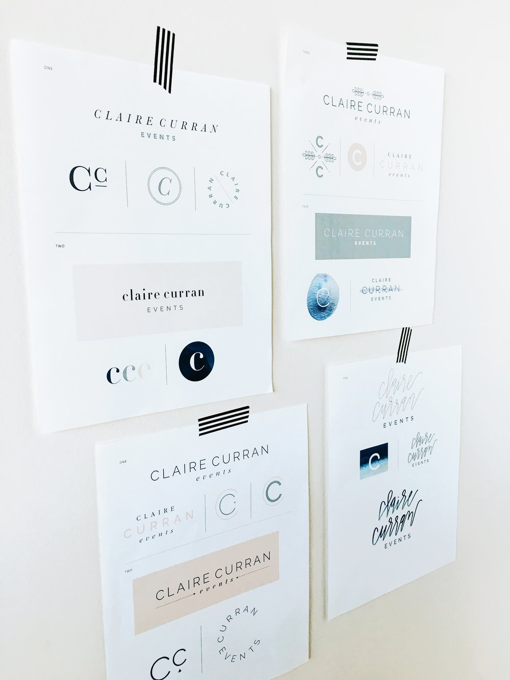 Various logo iterations for Claire Curran Events