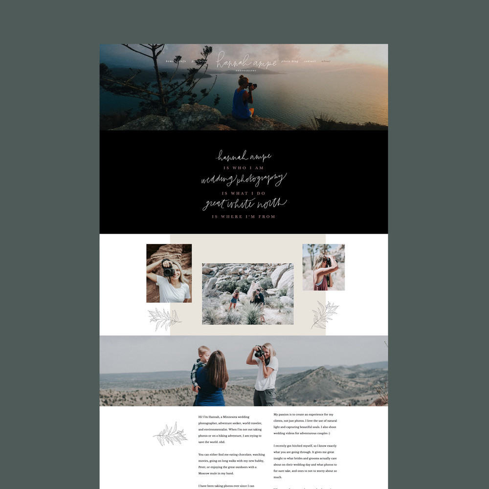 hannah+ampe+photography+about+website+squarespace+whimsical+black+neutral+moody+script+hand-drawn+playful+hand-lettered+fun+outdoorsy+nature.