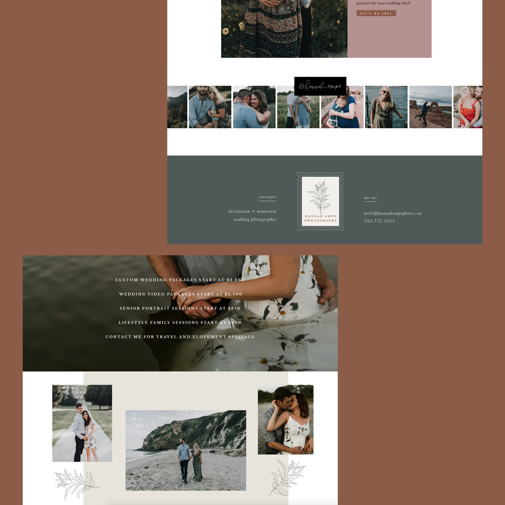 hannah+ampe+photography+branding+brand+logo+website+design+footer+whimsical+script+stamp+brand+green+neutral+leaves+photography