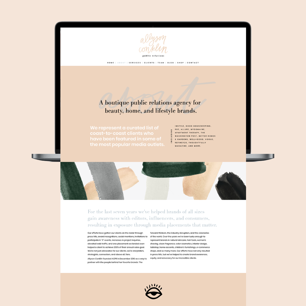 allyson+conklin+public+relations+website+homepage+wordpress+webdesign+paint+pattern+typography+brush+script+serif+sansserif+nude+green+grey+black+site+branding+logo+feminine+hand-lettering+solid+color+eclectic+stylish+sophisticated