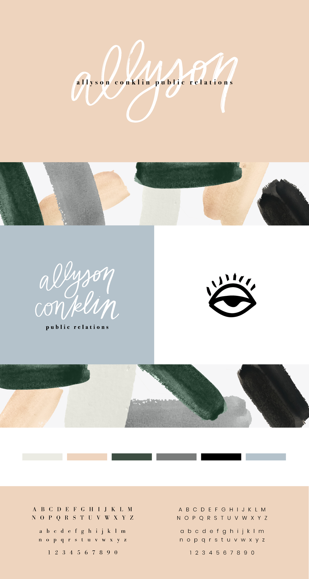 allyson+conklin+public+relations+website+homepage+wordpress+webdesign+paint+pattern+typography+brush+script+serif+sansserif+nude+green+grey+black+site+branding+logo+feminine+hand-lettering+solid+color+eclectic+stylish+sophisticated+logo