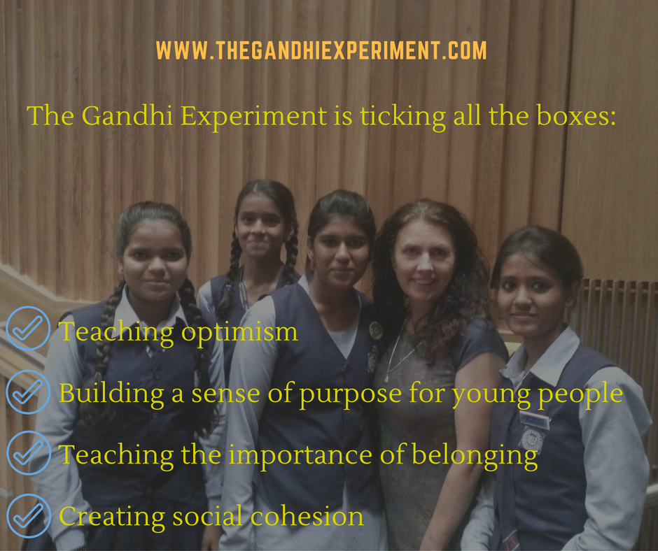 The Gandhi Experiment is ticking all the boxes_ - Teaching optimism - Building a sense of purpose for young people - Teaching the importance of belonging - Creating social cohesion.png