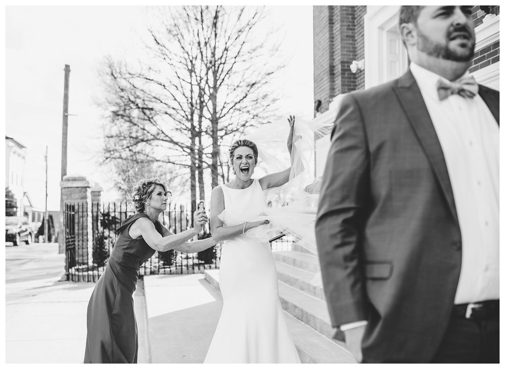 Heather was a little excited to see her groom! So was the wind.