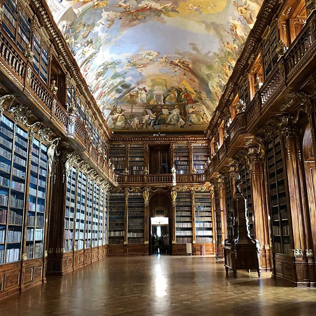 It is extremely hard to find a cabinetmaker to have the time or client that would pay for something like these beautiful Library shelves in a monastery in Prague craved out  of Czech walnut. Photo 3 and 4 show you how they get to the second layer of books.