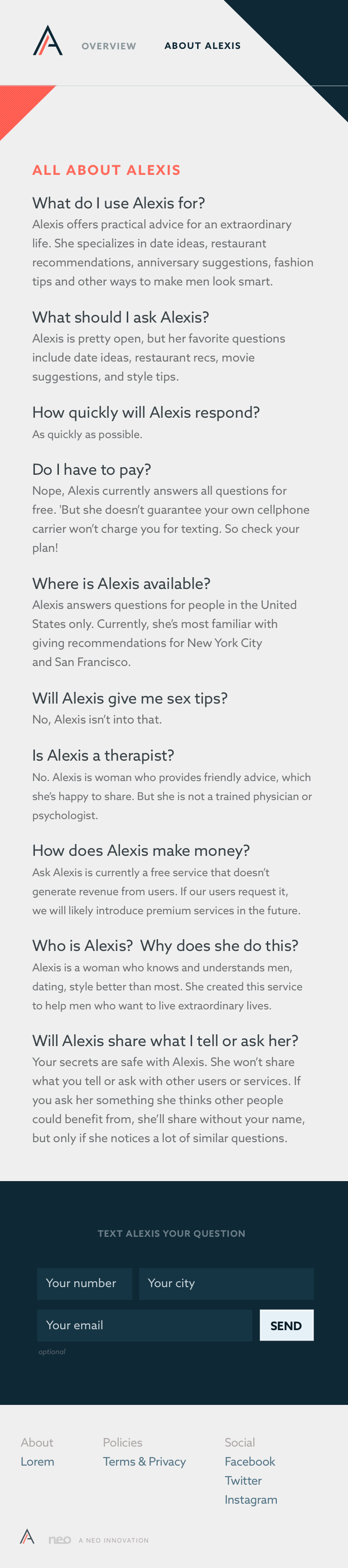 An FAQ to help users orient themselves to what to expect when texting Alexis.
