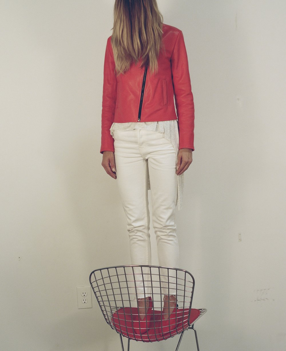 Melissa Fleis - Atomic Red Leather Drift Top Standing.jpg