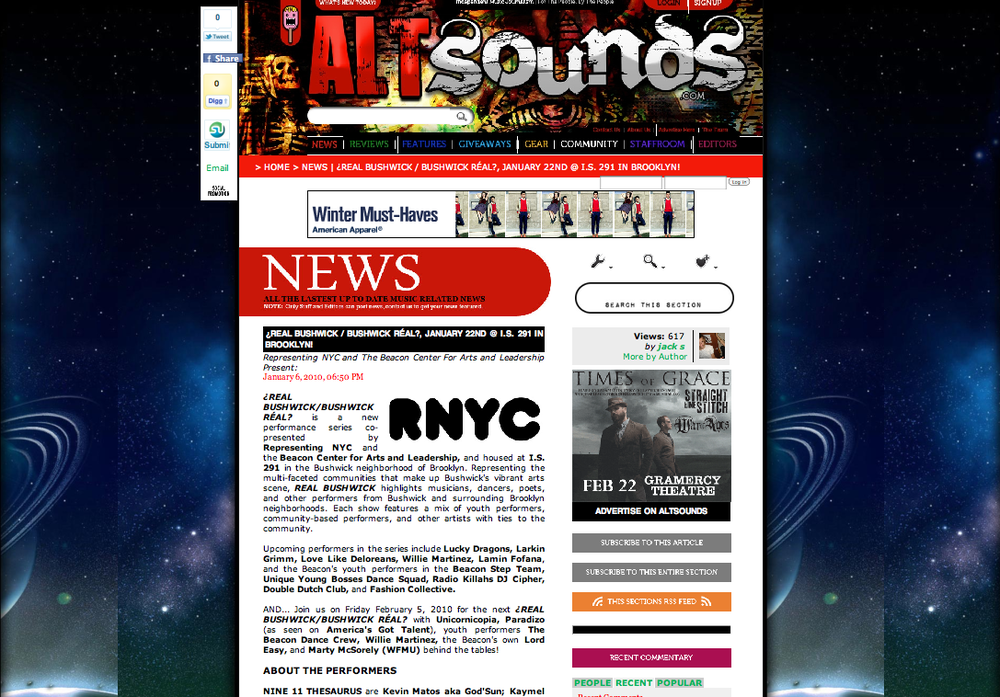 Featured on AltSounds.