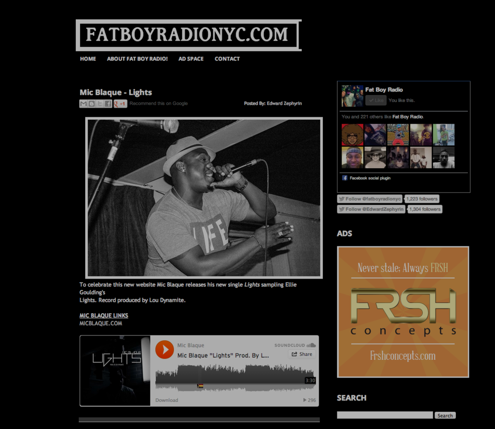 Featured on Fat Boy Radio NYC.