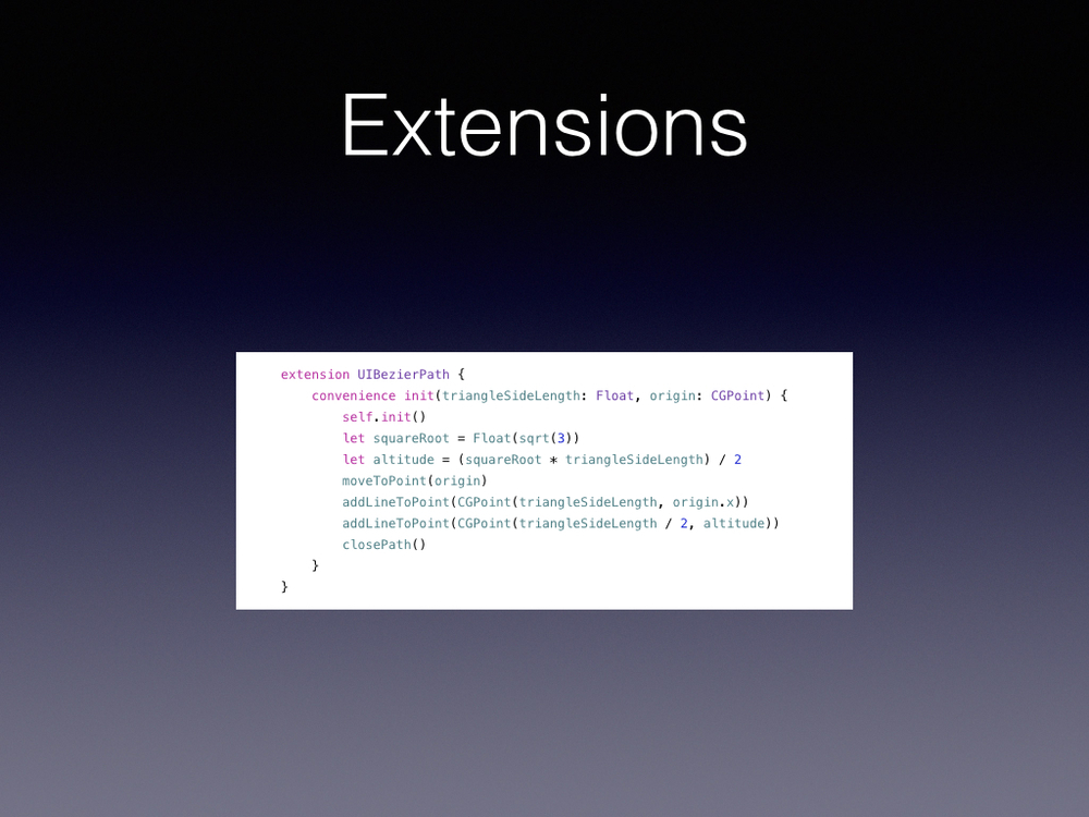 Need your Cocoa to do something unexpected?       Categories was how you did it in Obj-C now you have extensions and Extensions do a lot more, you can put in more places than just classes in Swift