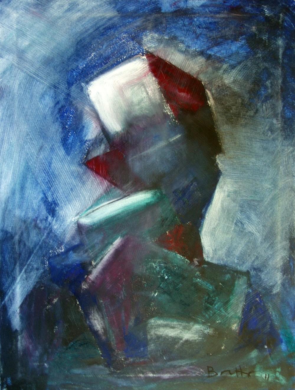 """Tentativo di forma</br><div class=""""grey"""">cm 60x80, tecnica mista su tela, 2010</div>"""
