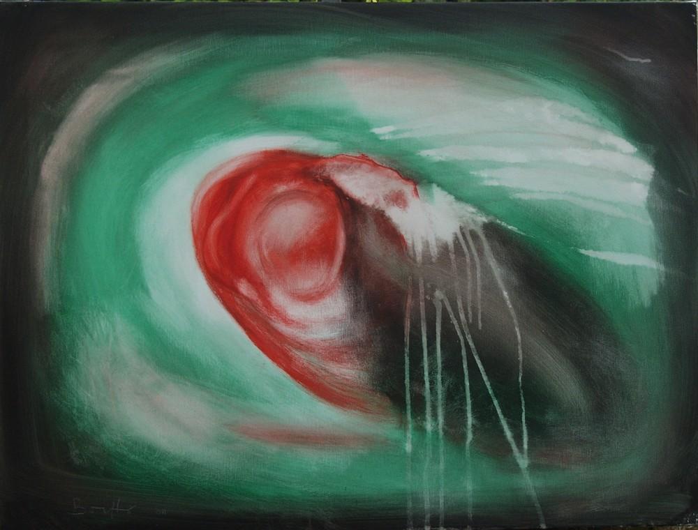 "Amorfo pulsante</br><div class=""grey"">cm 60 x 80, tecnica mista su tela, 2010</div>"