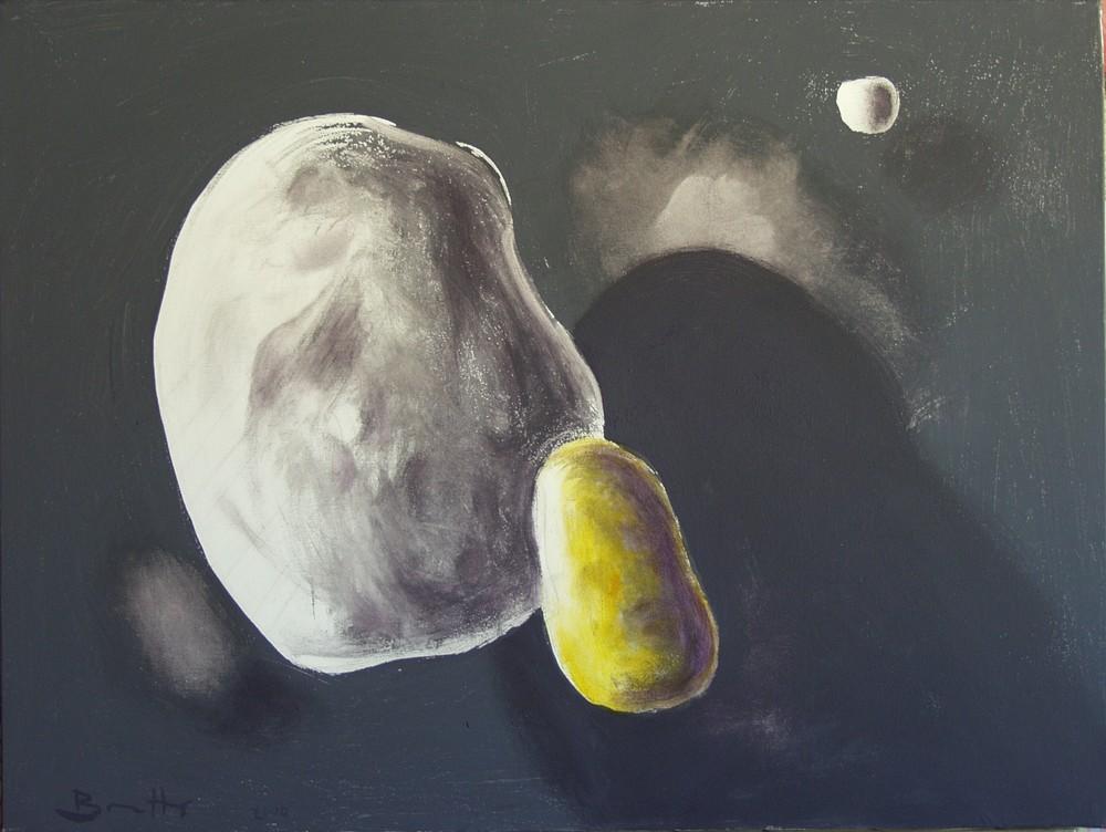 """Forma amorfa 2</br><div class=""""grey"""">cm 60x80, tecnica mista su tela, 2010</div>"""