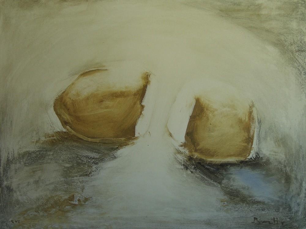 """Amorfo rosso blu</br><div class=""""grey"""">cm 60x80, tecnica mista su tela, 2011</div>"""