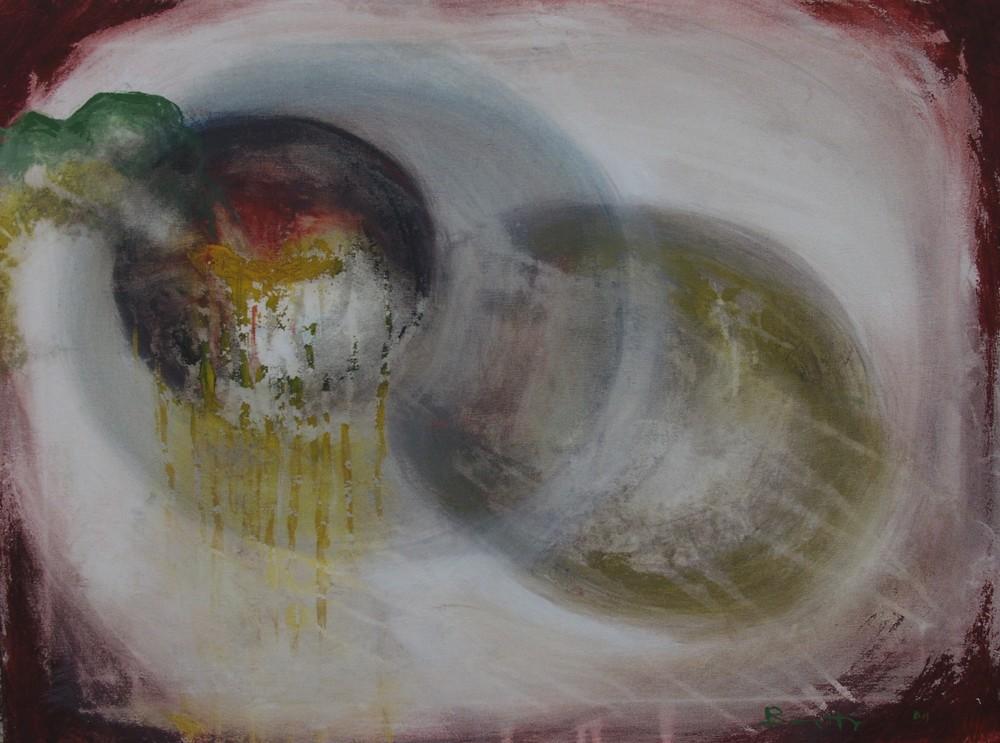 "Amorfismo: prova</br><div class=""grey"">cm 80x60, tecnica mista su tela, 2011</div>"