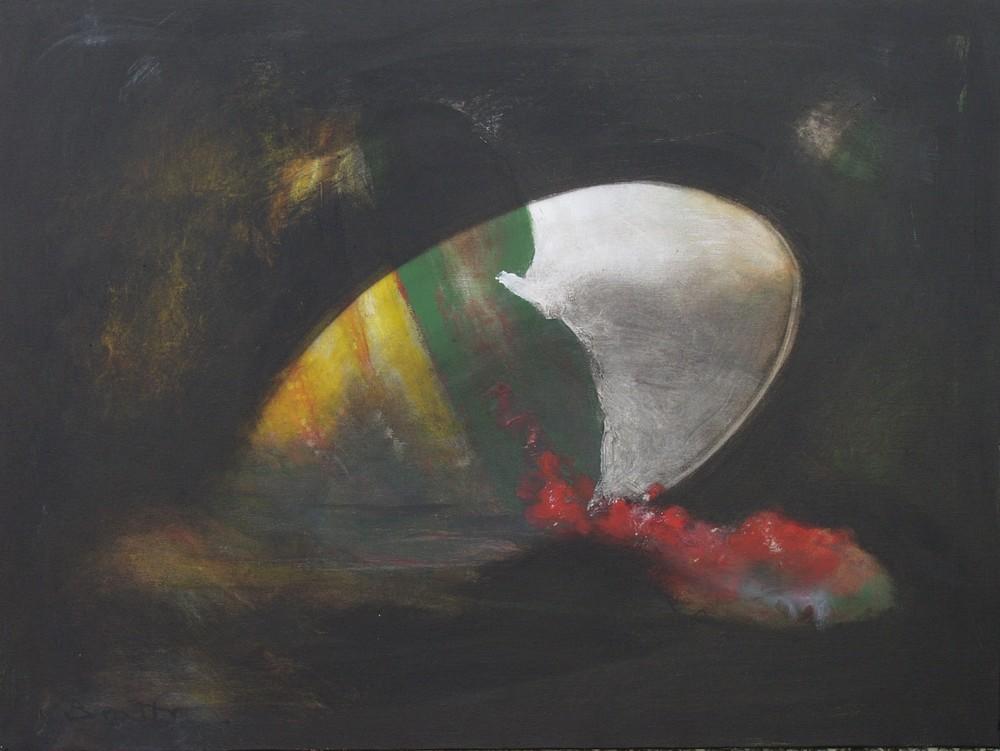 """Volontà di emersione</br><div class=""""grey"""">cm 60 x 80, tecnica mista su tela, 2011</div>"""