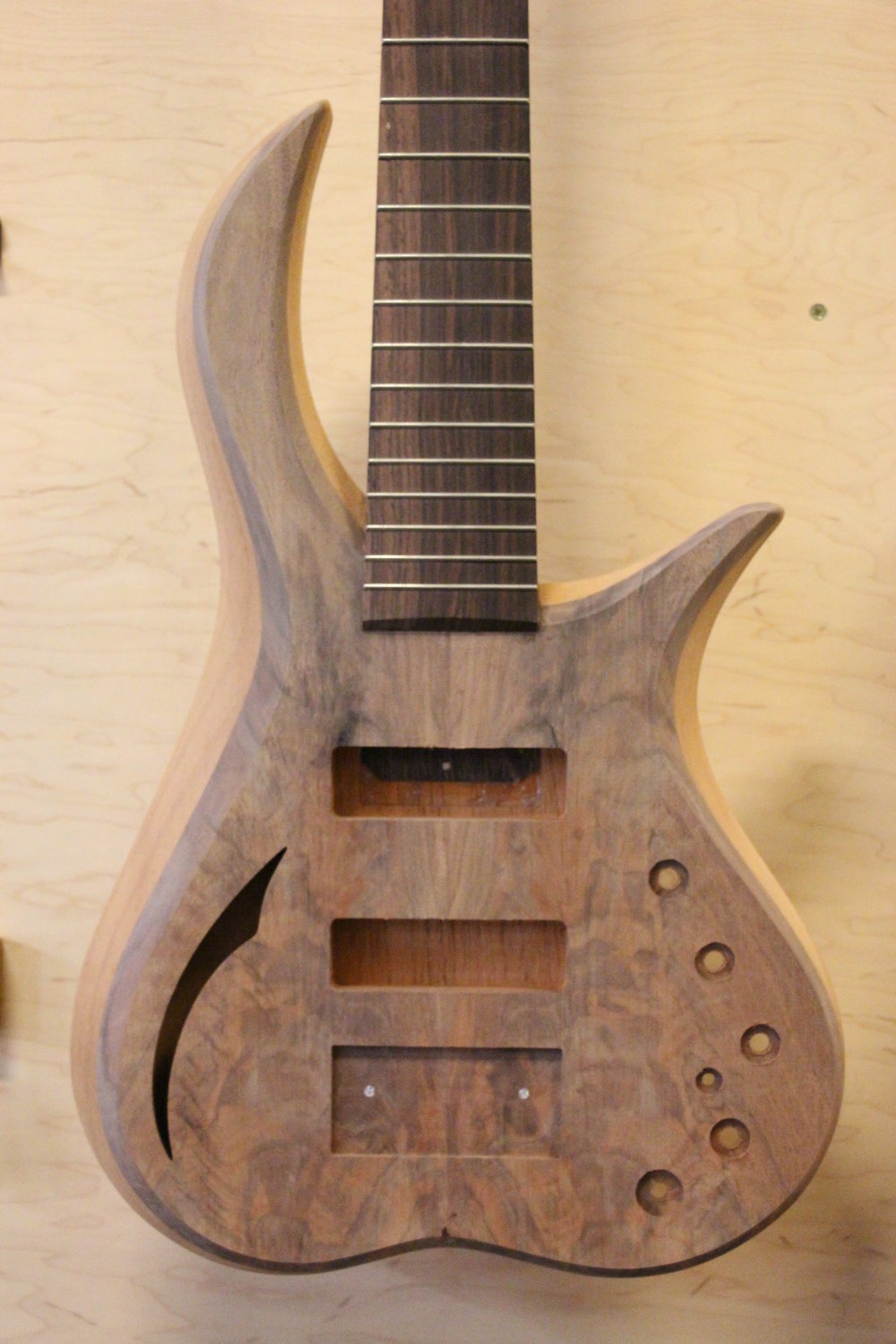 #034 Crotch walnut and Spanish cedar Caracal 5 with 3 piece wenge/ash neck and Indian rosewood fretboard