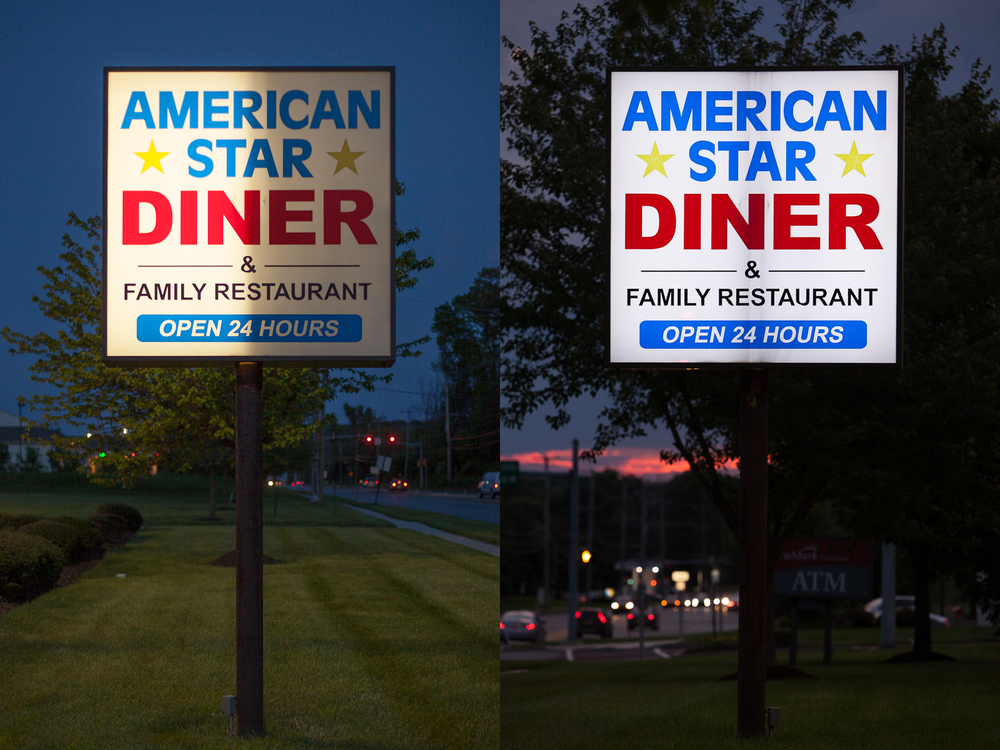 Professional before & after photos showcasing the work done by   Sign Trade Pro Plus  .  Left – The sign originally had fluorescent lighting that wasn't working properly. Right – LED lighting was installed and the difference is clear. Not only does LED lighting look much better, it's also brighter, it lasts much longer, and costs significantly less money to operate.