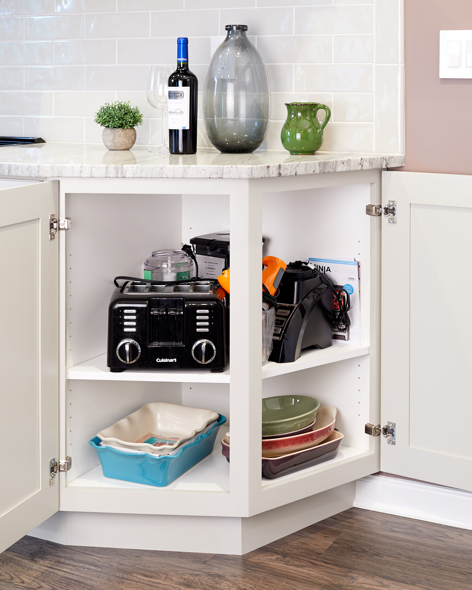 The corner cabinet provides lots of space for large items with easy access to them.