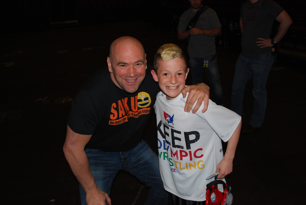 Wrestle in My Shoes Founder Joey Butler with UFC President Dana White