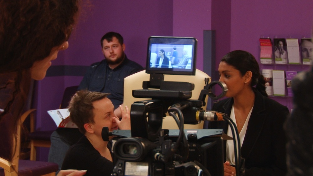 Cecilia Stenbom directing on the set of In Waiting