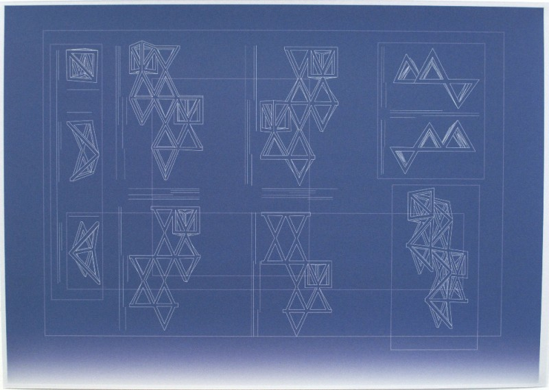 HANNAH DARGAVEL-LEAFE, Blueprint for crane motif 3.1, 2014, inkjet print on colorplan paper. 41cm x 29cm Edition of 30 + 3AP's