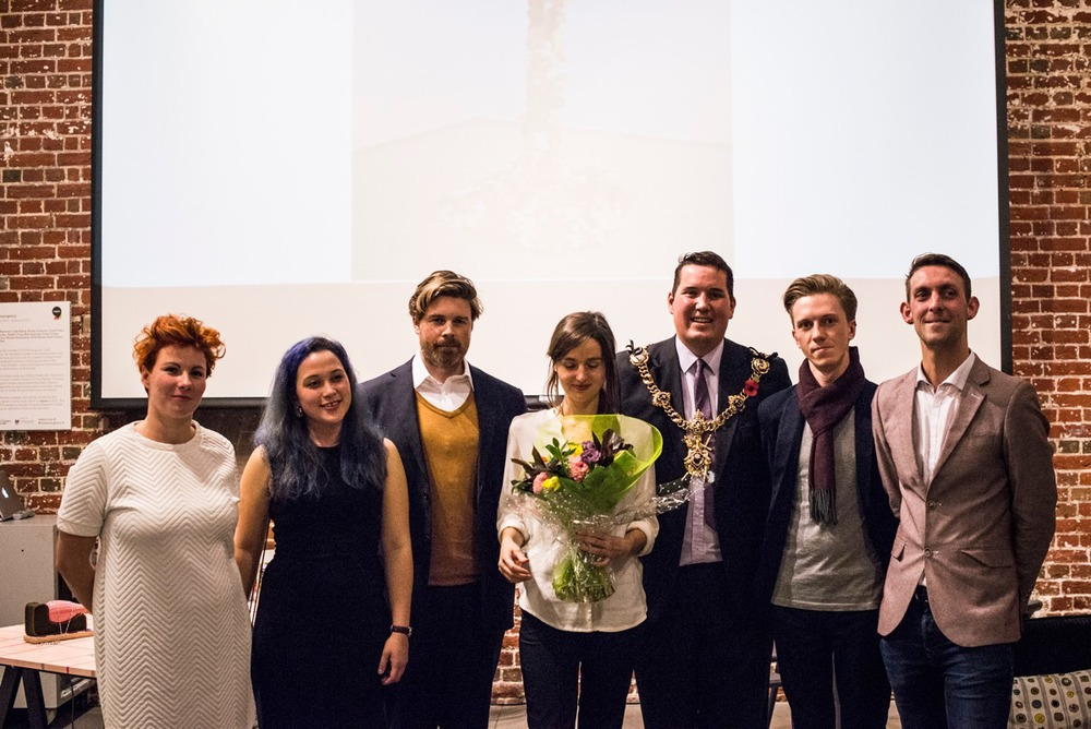 Shortlisted Platform 2014 artists from left :  Izabela Brudkiewicz, Rachel Minott, Peter Heslip, Director of Visual Arts ACE, Sophie Dixon, Steven Wylie, Lord Mayor of Portsmouth, Holger Kilumets, Samuel Lloyd // by Matt Ankers