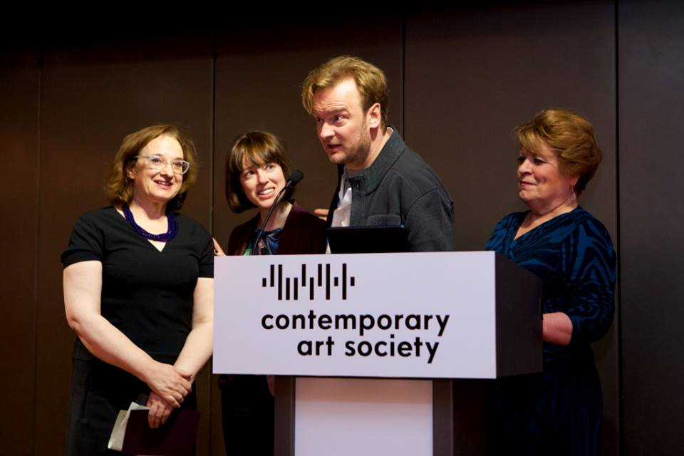 Receiving the CAS Award at The Barbican, London are (l to r) Alex Walker (Head of Arts & Heritage) and Clarissa Corfe (Exhibitions Officer), Harris Museum & Art Gallery; Nathaniel Mellors; Councillor Veronica Afrin, Preston City Council © Sophie Mutevilian