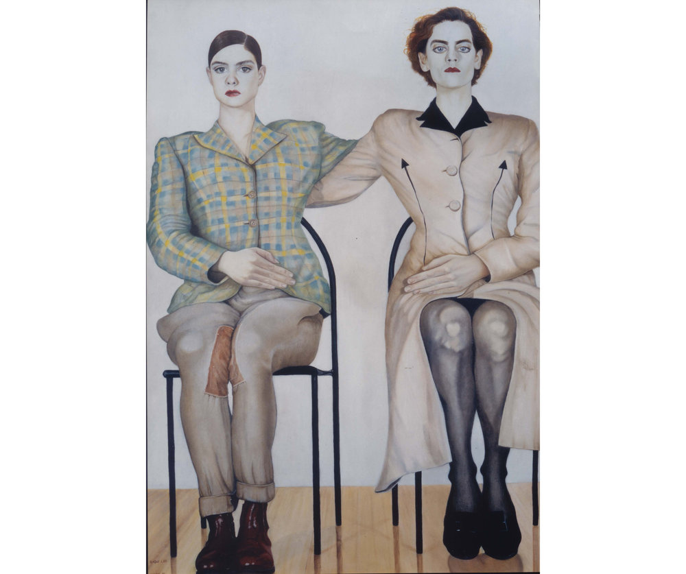 Sadie Lee,  Erect , oil on canvas, 1991. © the artist. On display at The People's History Museum for 'Never Going Underground' (until 3 September 2017)