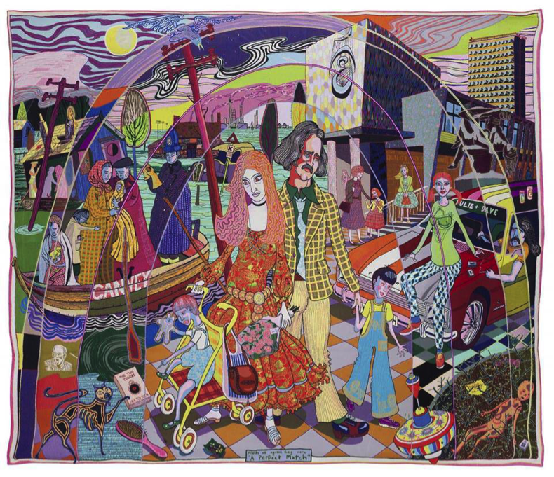 Image credit: 'A Perfect Match', Grayson Perry, 2015. Crafts Council Collection: 2016.19. Purchase supported by Art Fund (with a contribution from the Wolfson Foundation) and a donation from Maylis and James Grand. Courtesy the artist, Paragon Press, and Victoria Miro, London. © Grayson Perry.