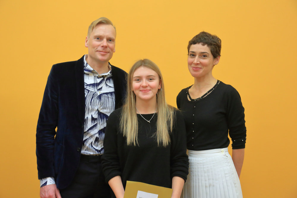 Director of Modern Art Oxford Paul Hobson with Platform Graduate Award 2017 Winner Sophie Barber and guest selector, Artist Rosalind Nashashibi.