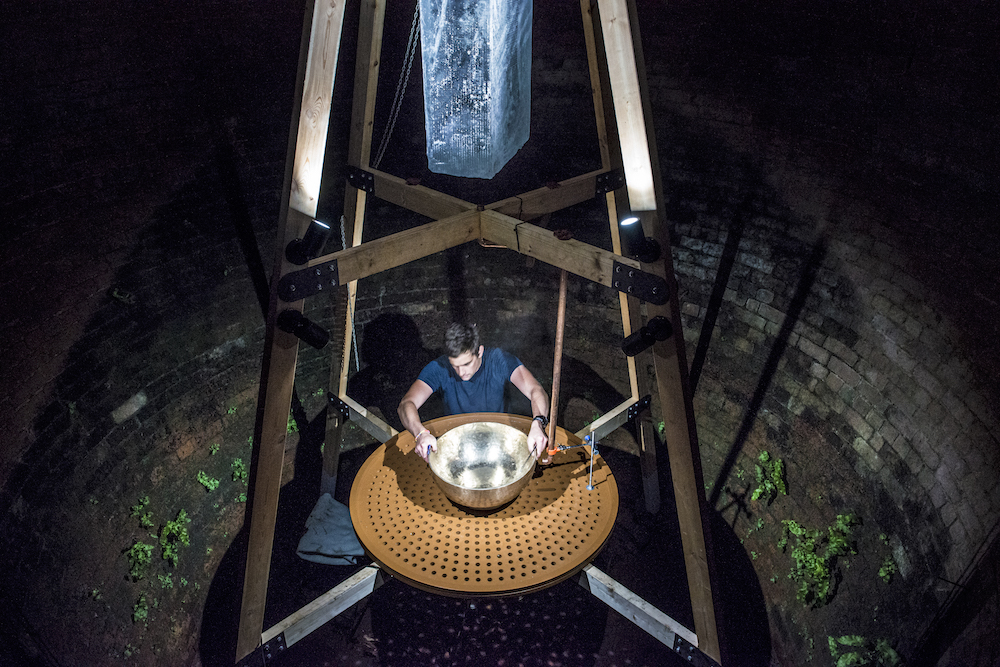 Time in the Ice House  production photograph, with artist David Appleyard.  Time in the Ice House  by David Appleyard at Norton Priory Museum and Gardens © Jonathan Turner.