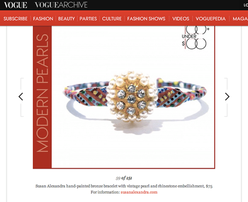 "The Eponine Bracelet featured on Vogue.com's ""100 under $100"" list. September 2013."