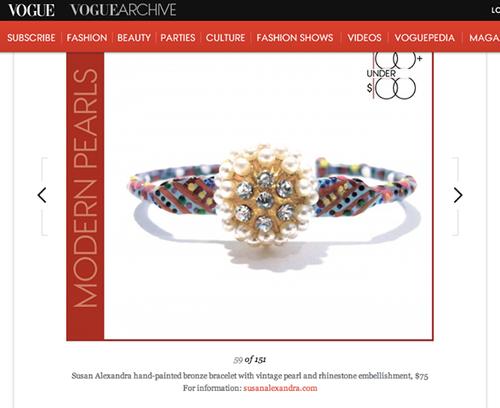 """The Eponine Bracelet featured on Vogue.com's """"100 under $100"""" list. September 2013."""