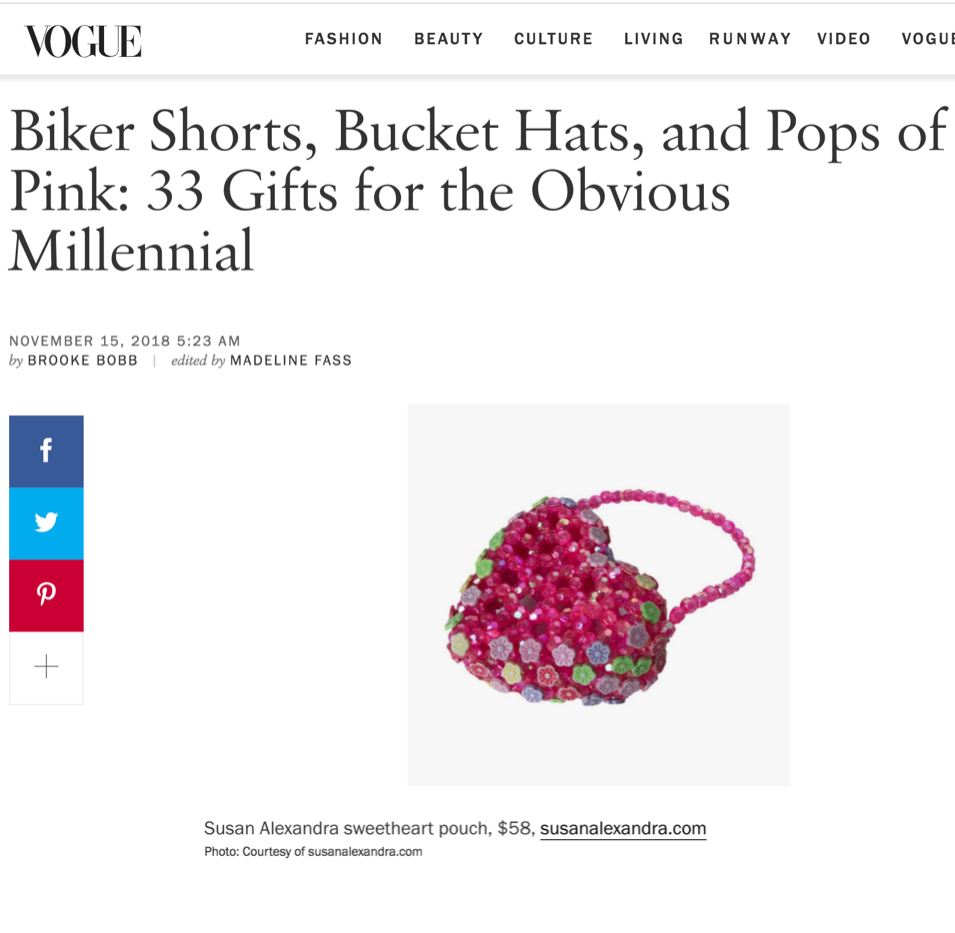Susan Alexandra in Vogue: Gifts for the Obvious Millennial