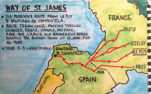 Map showing the pilgrimage routes to Santiago de Compostela.