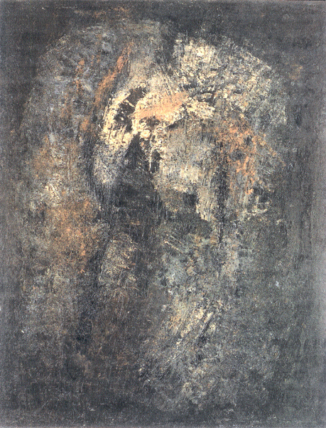 "senza titolo, dalla serie ""Gesto e materia"", 1957, olio su tela, cm 130 x 100  untitled, from the series ""Gesto e materia"", 1957, oil on canvas, cm 130 x 100"