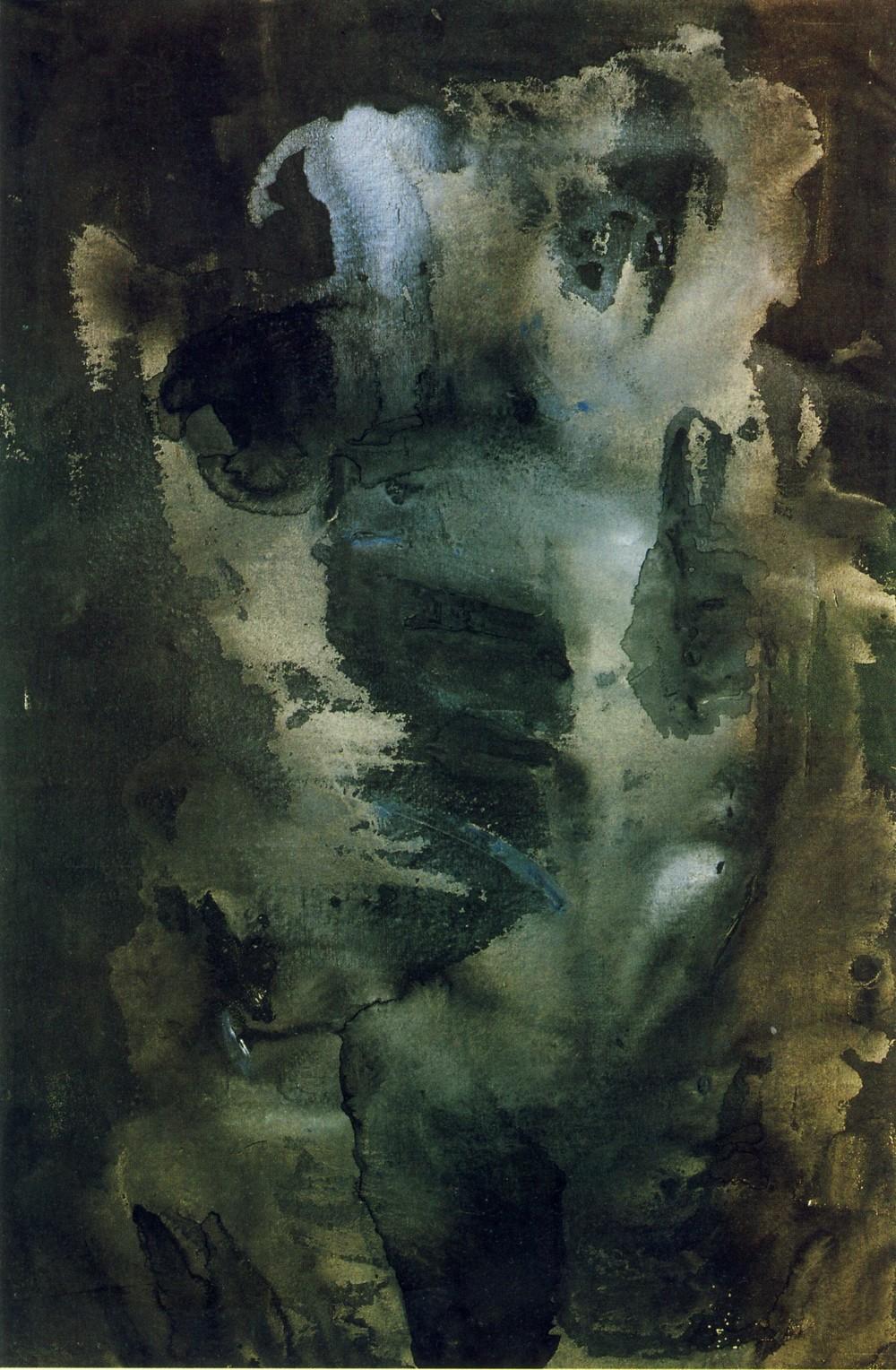 Larva azzurra, 1958, olio su tela, cm 120 x 80  Larva azzurra, 1958, oil on canvas, cm 120 x 80