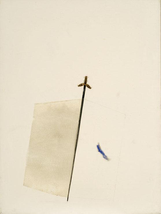 Lo stiletto, 1973, polimaterico su tela, cm 80 x 60  Lo stiletto, 1973, mixed media on canvas, cm 80 x 60