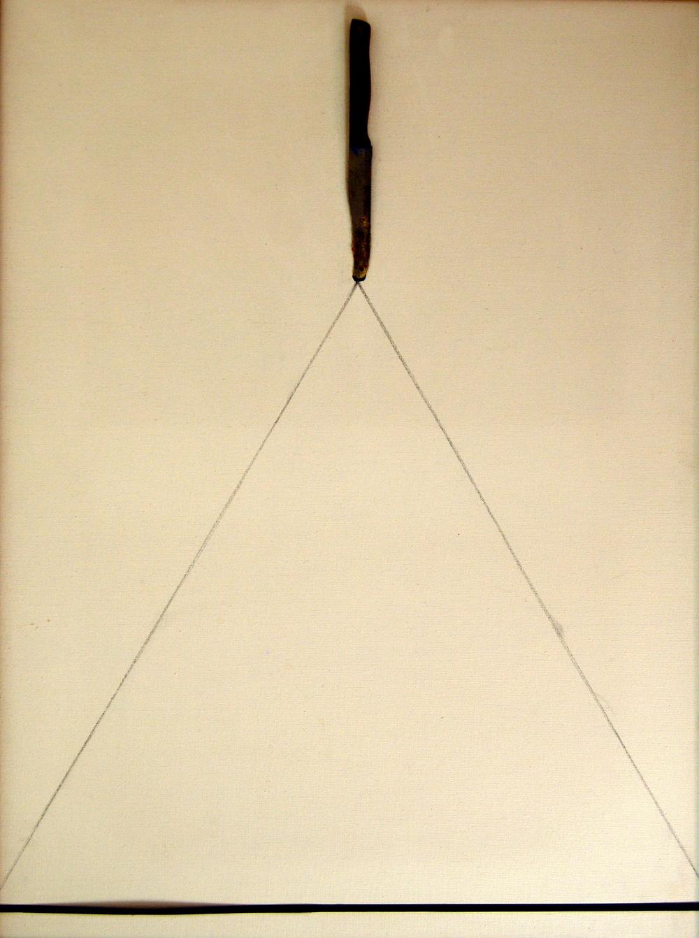 Il coltello, 1975, polimaterico su tela, cm 80 x 60  Il coltello, 1975,mixed media on canvas, cm 80 x 60