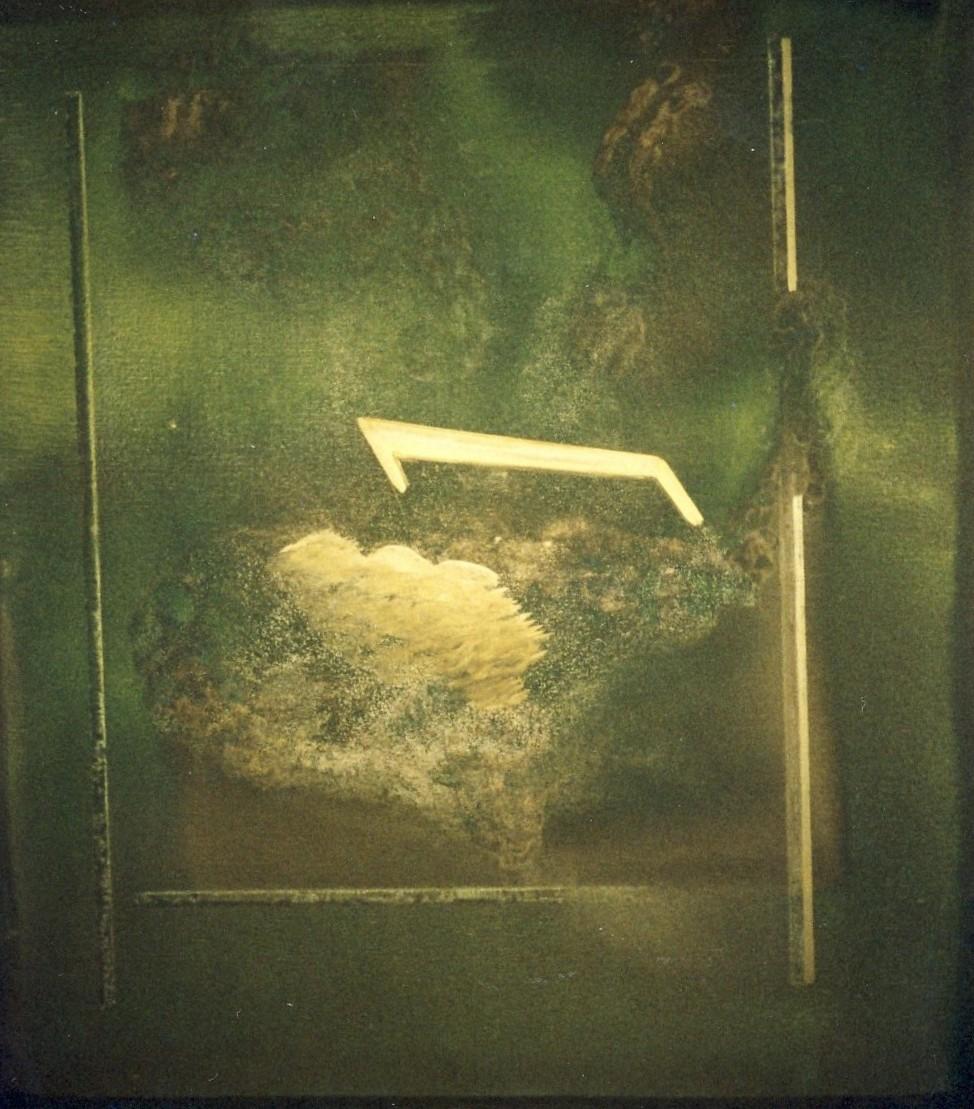 senza titolo, 1977, olio e polvere d'oro su tela, cm 160 x 140  untitled, 1977, oil and gold dust on canvas, cm 160 x 140
