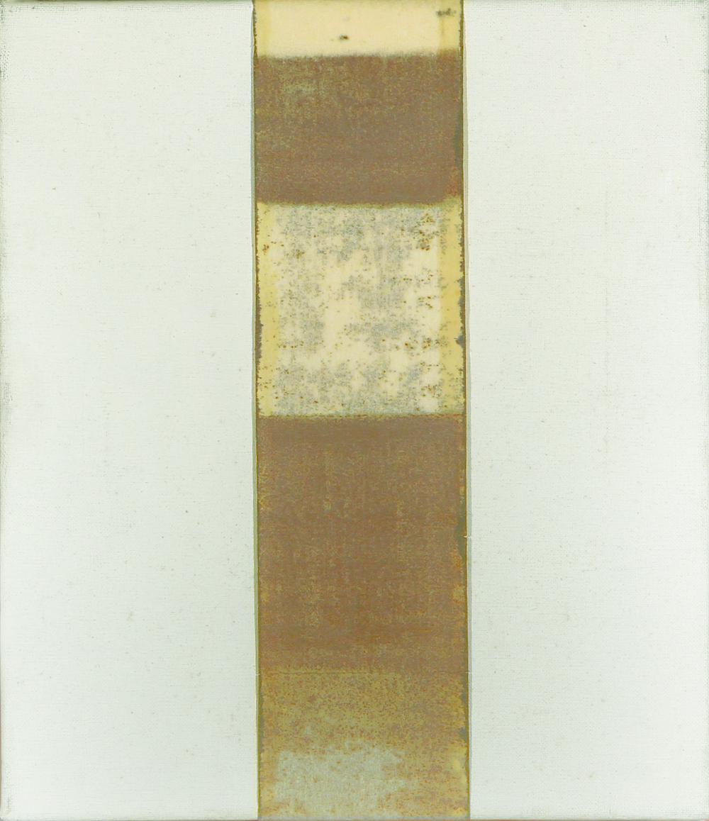 Piccola Sindone, 1978, polimaterico su tela, cm 40 x 35   Piccola Sindone, 1978, mixed media on canvas, cm 40 x 35
